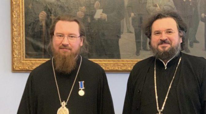 Состоялась вcтреча архиепископа Романа с Ректором МДА епископом Феодоритом